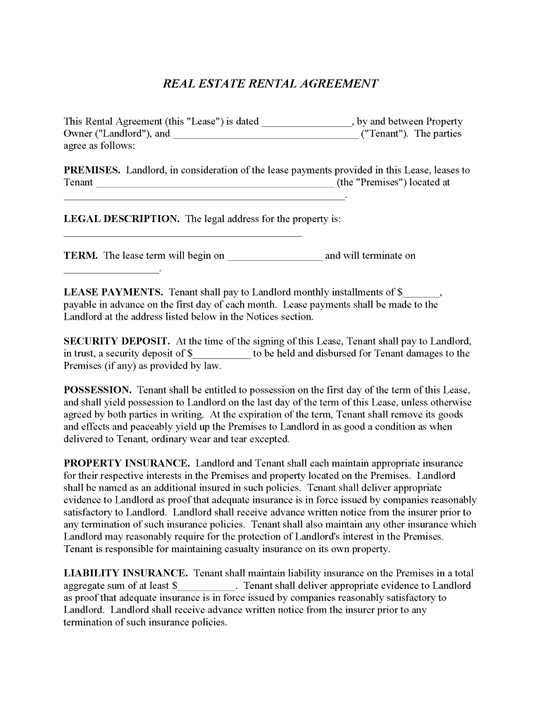 Commercial Property Rental Agreement Form
