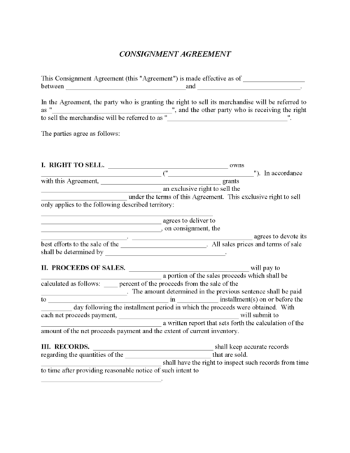 Consignment Agreement Form PDF