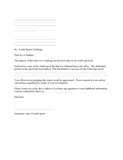 Credit Report Challenge Form PDF