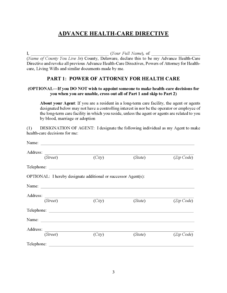 Delaware Advance Directive For Health Care Form