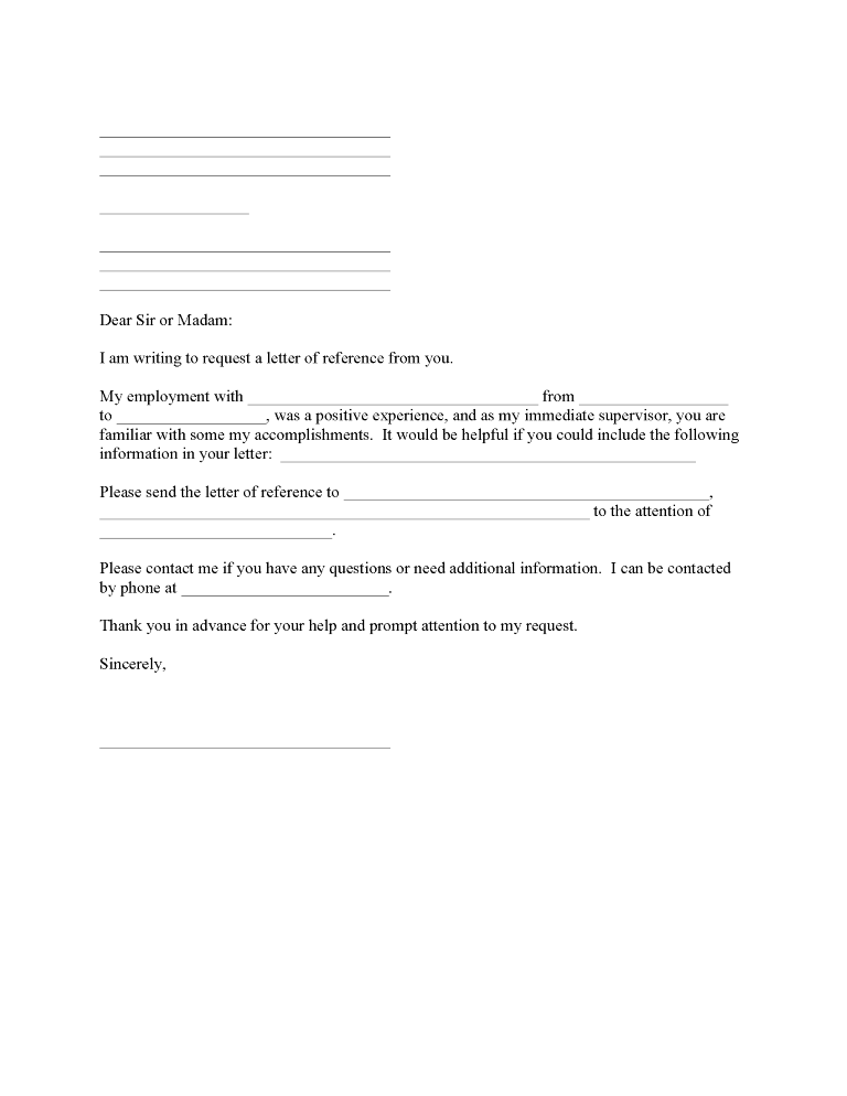 Employment Reference Request Form