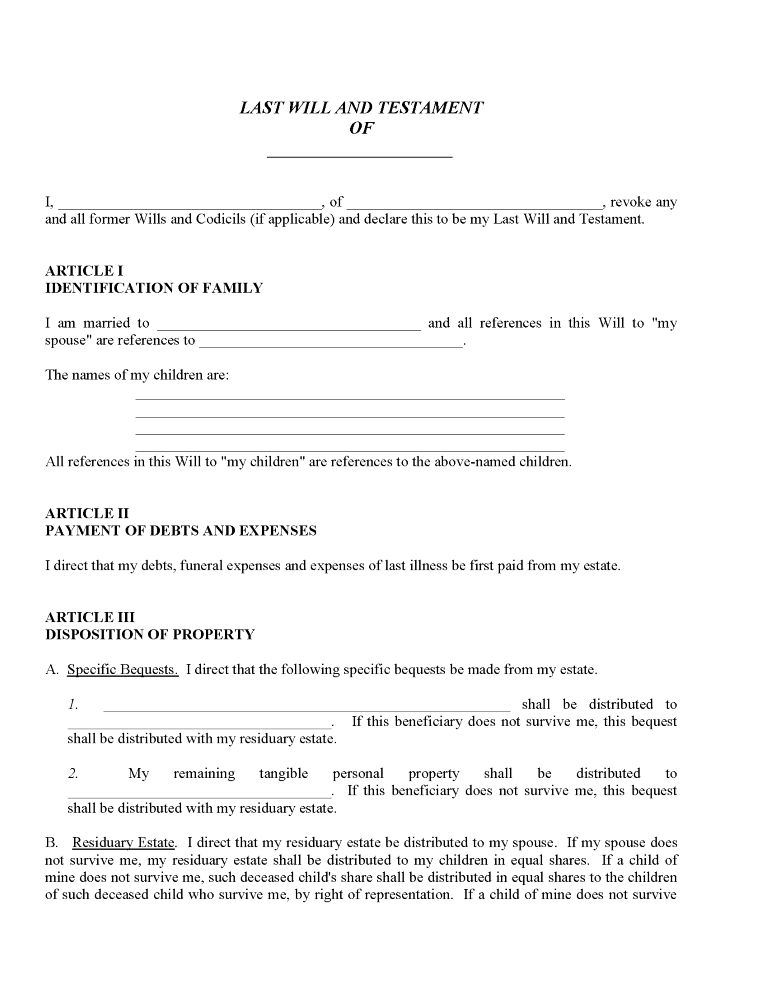 Example of a Will