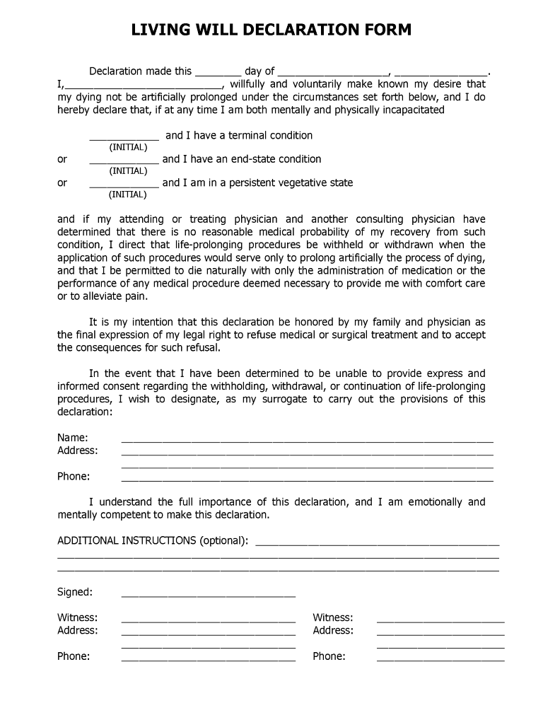 Florida Advance Directive For Health Care Form