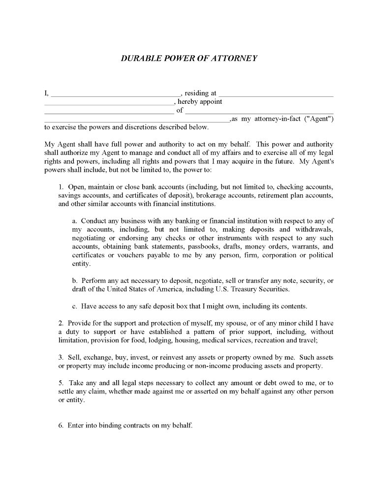 Free Durable Power of Attorney Form