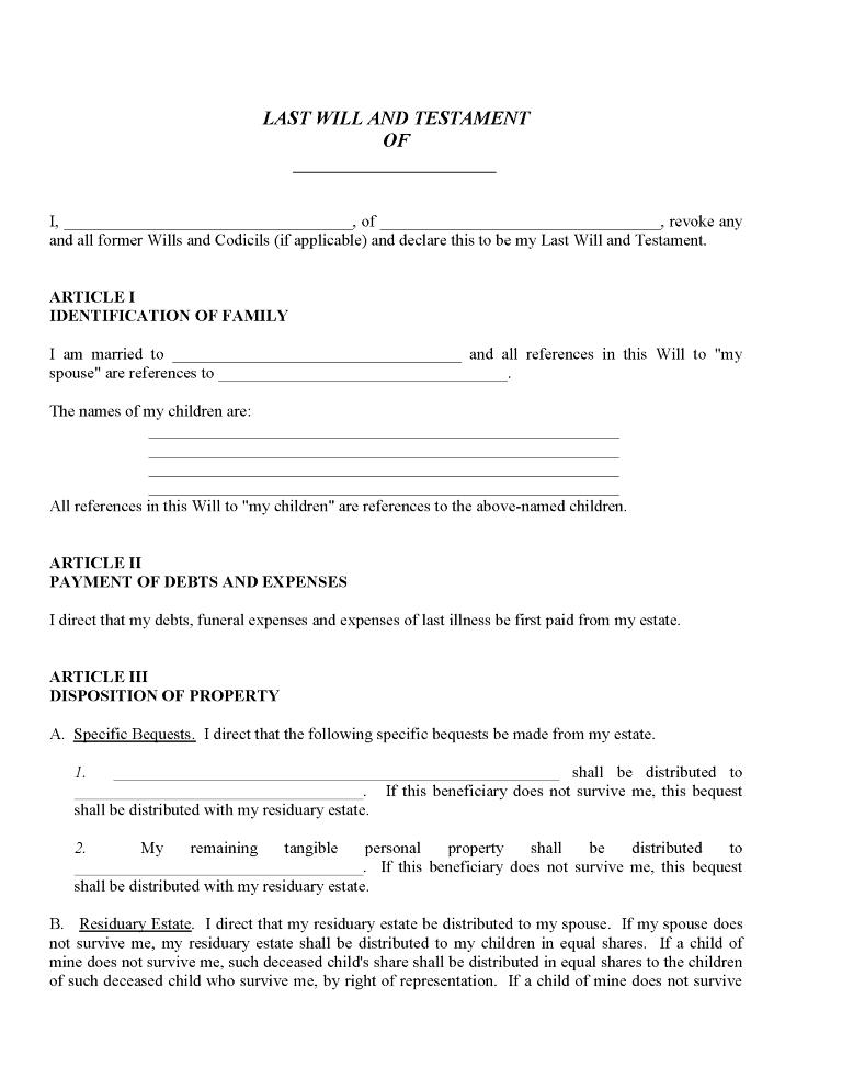 Free Printable Blank Wills