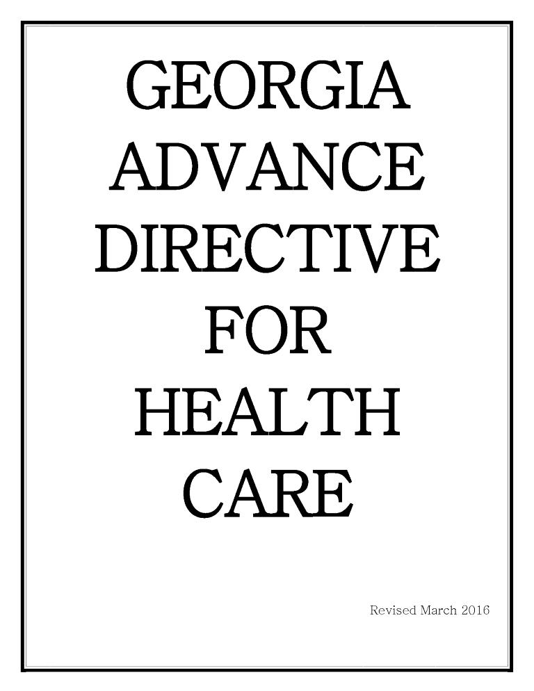 Georgia Advance Directive For Health Care Form