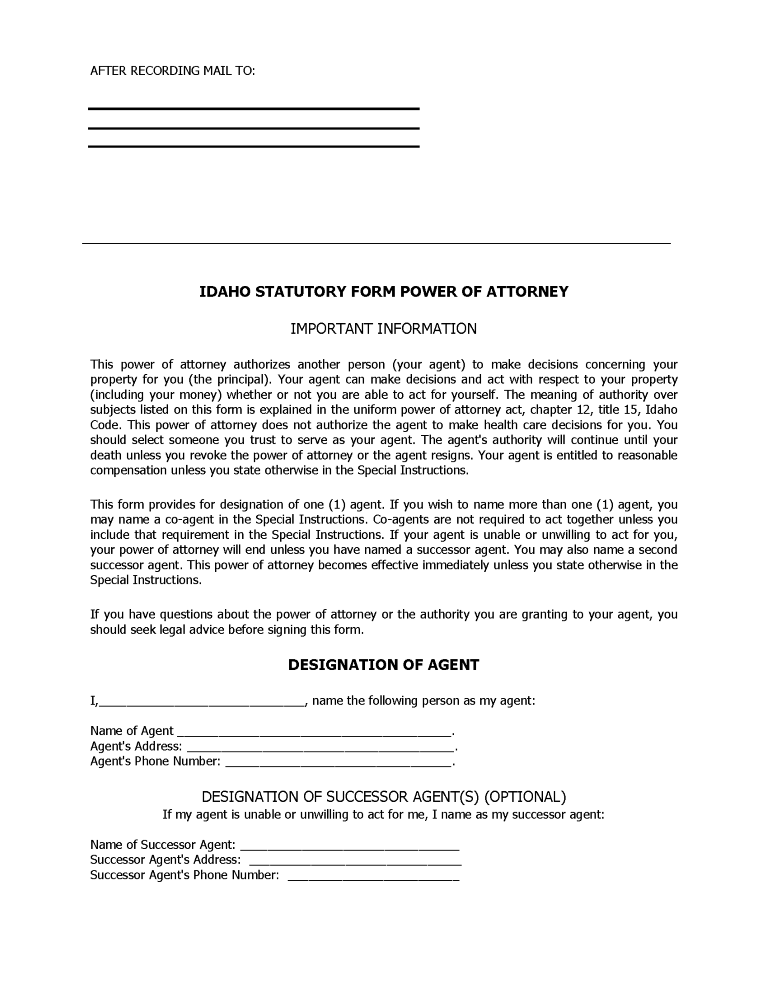 Idaho Financial Power of Attorney Form