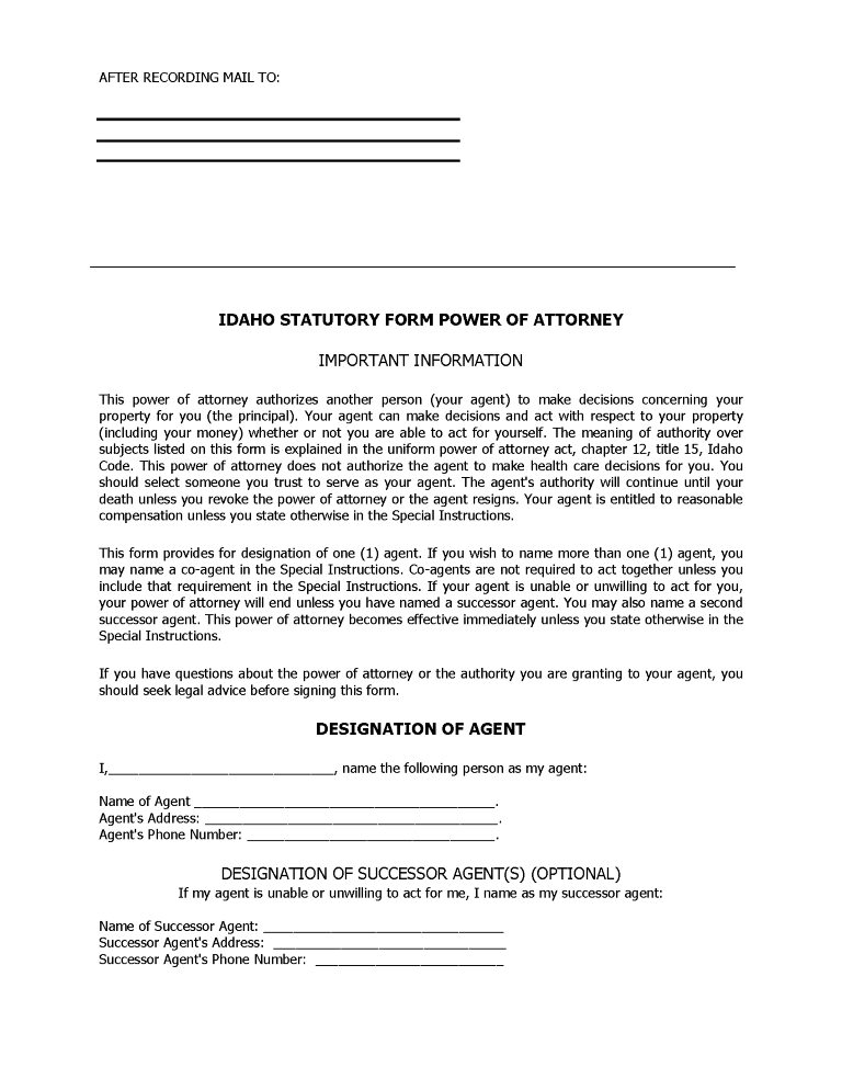 Idaho Power of Attorney Forms