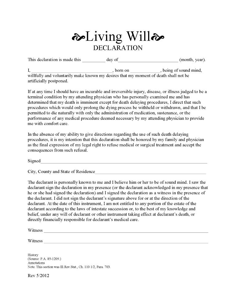 Illinois Advance Directive For Health Care Form