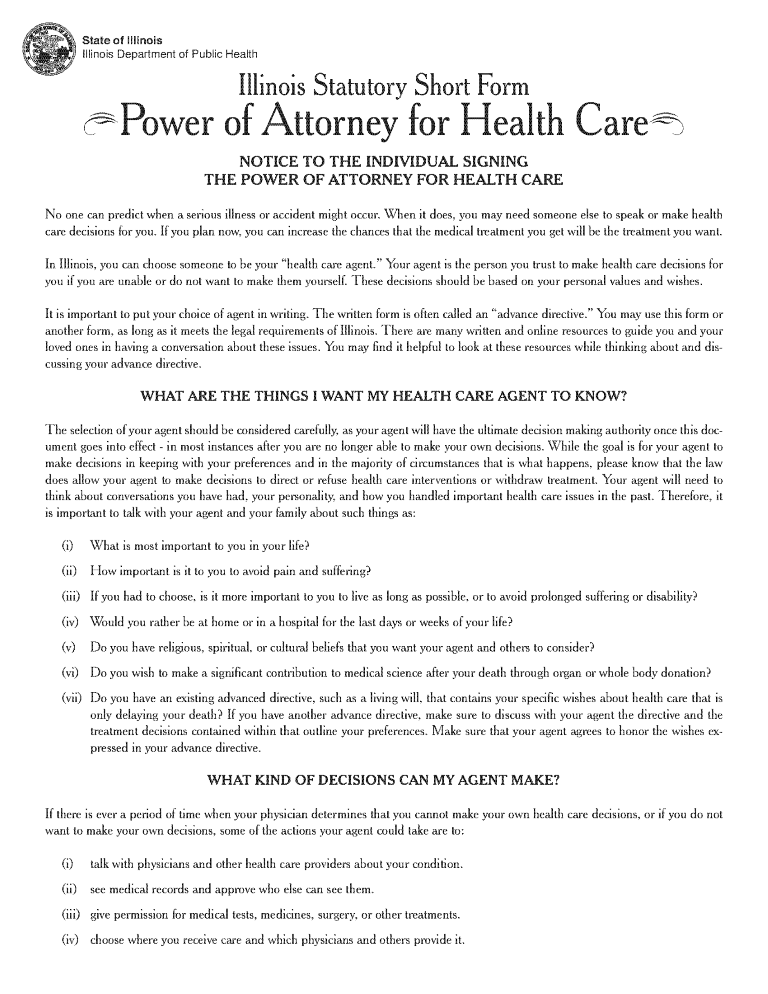 Illinois Health Care Power of Attorney Form