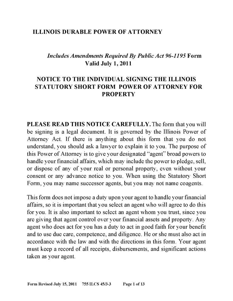 Illinois Power of Attorney Form Free Printable