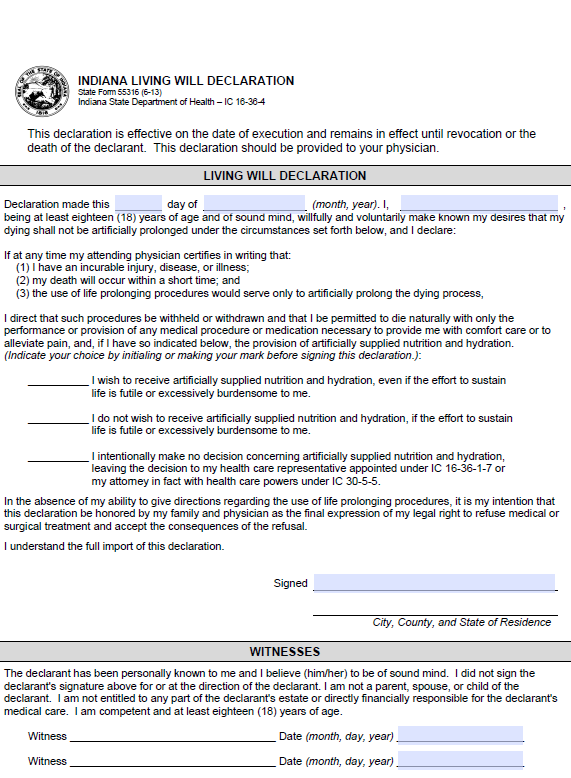 Indiana Advance Directive For Health Care Form