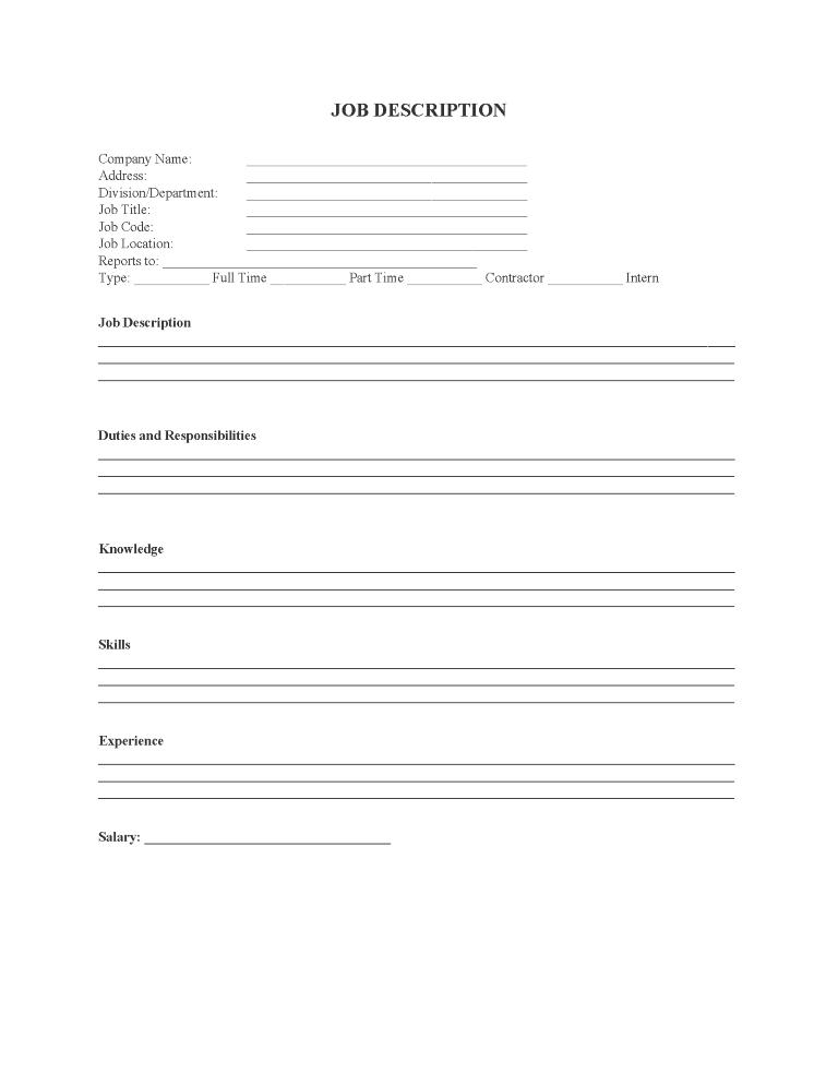 Job Description Listing Form
