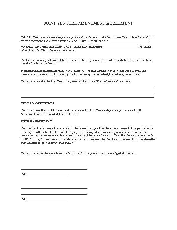 Joint Venture Amendment Agreement