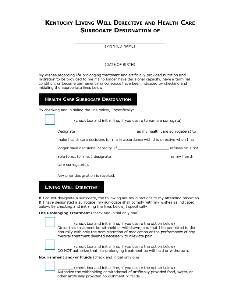 Kentucky Health Care Power of Attorney Form