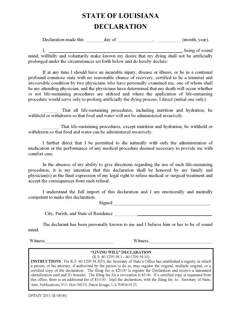 Louisiana Advance Directive For Health Care Form