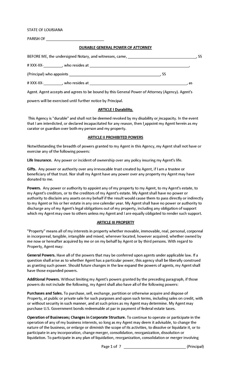 Louisiana Power of Attorney Forms