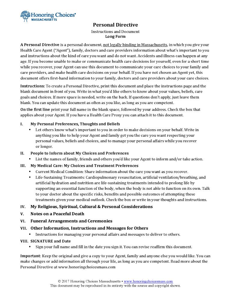 Massachusetts Advance Directive For Health Care Form