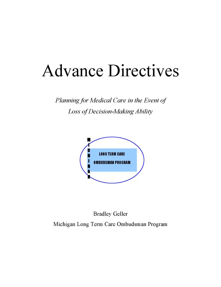 Michigan Advance Directive For Health Care Form