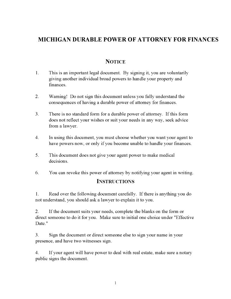 Michigan Power of Attorney Forms