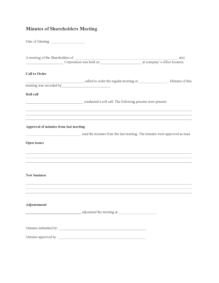 Minutes of Shareholders Meeting Form
