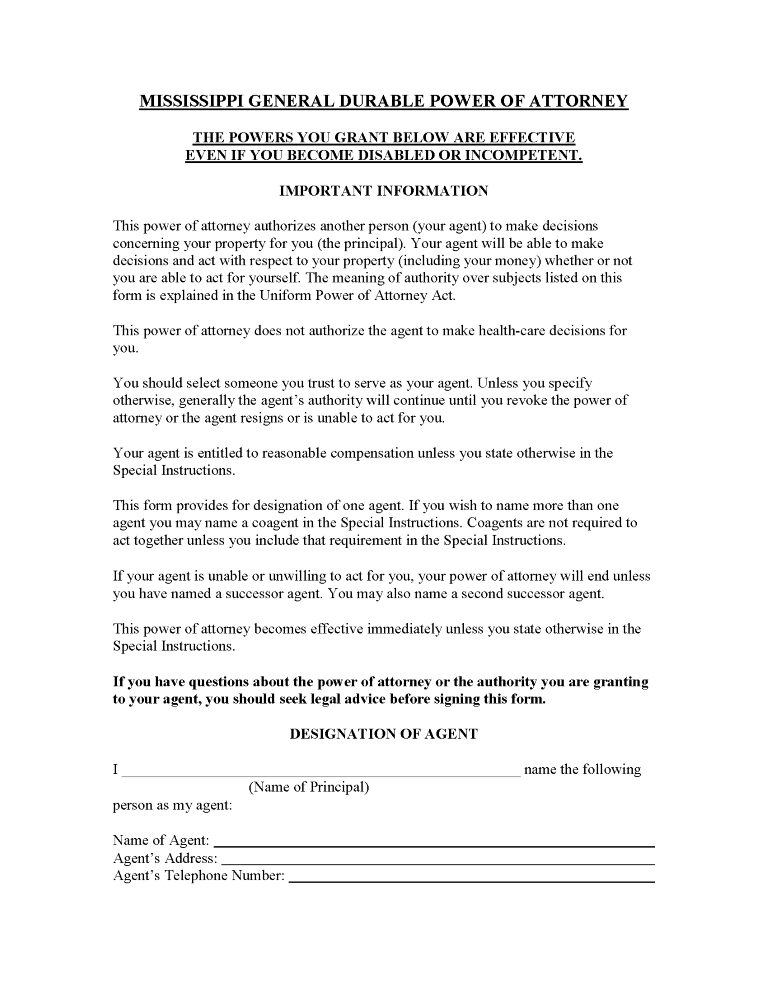 Mississippi Power of Attorney Forms