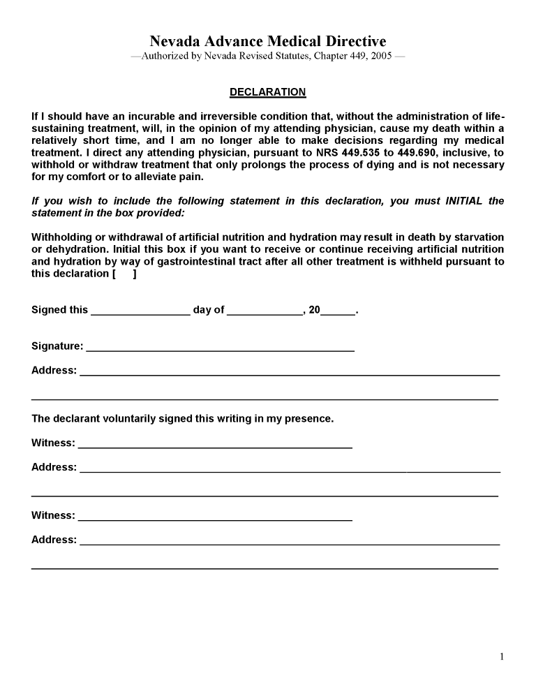 Nevada Health Care Power of Attorney Form