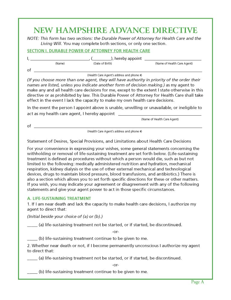 New Hampshire Health Care Power of Attorney Form