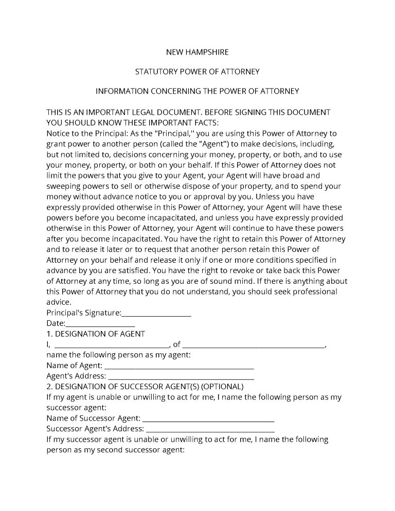 New Hampshire Power of Attorney Forms
