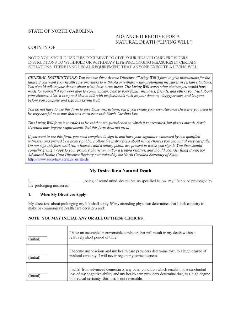 North Carolina Advance Directive For Health Care Form