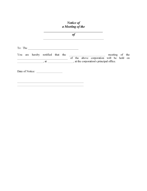 Notice of Corporate Meeting Form PDF