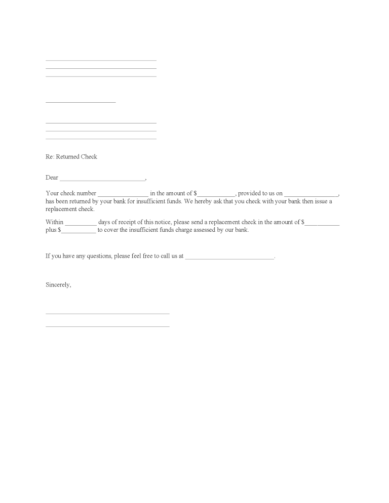 Notice of Returned Check Form
