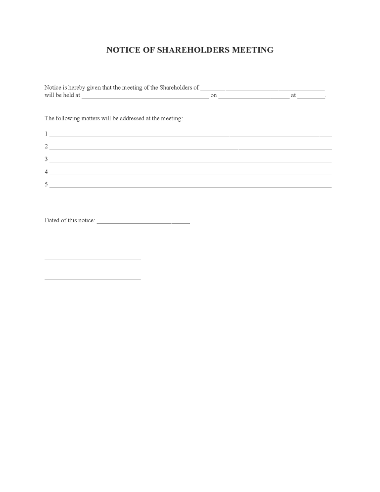 Notice of Shareholders Meeting Form