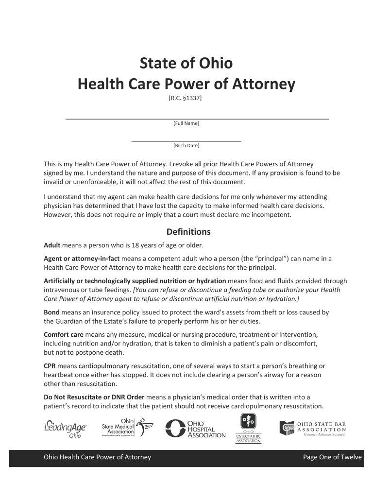 Ohio Health Care Power of Attorney Form