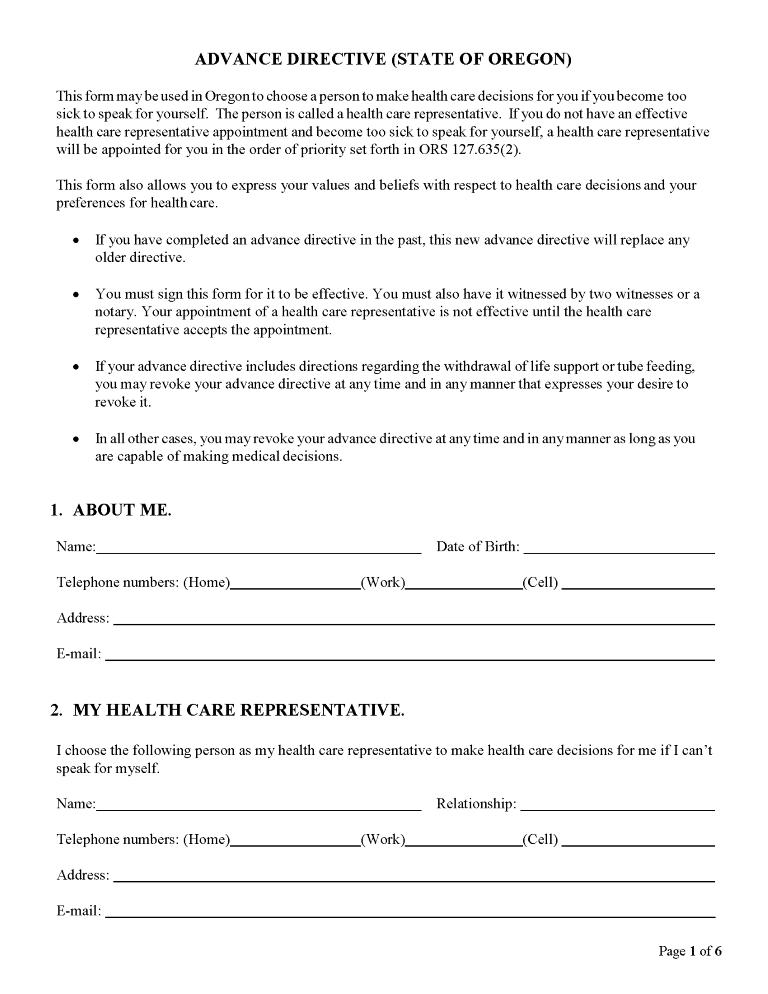 Oregon Advance Directive For Health Care Form