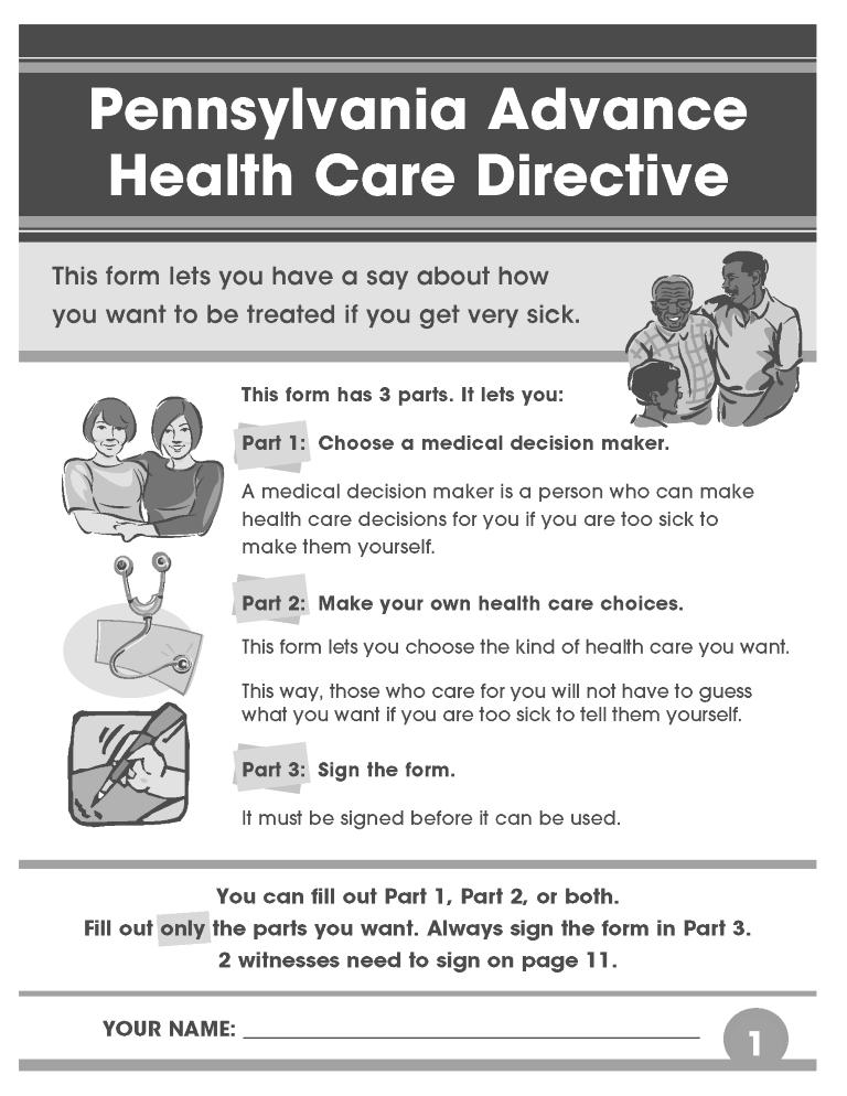 Pennsylvania Advance Directive For Health Care Form