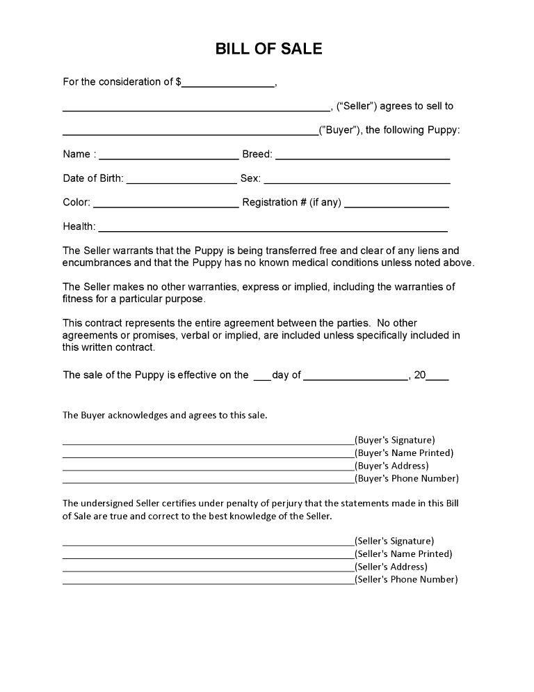 Puppy Bill of Sale Form