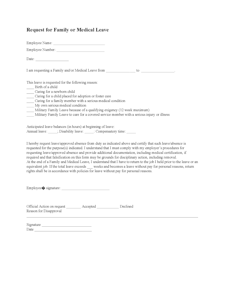 Request For Family or Medical Leave Form