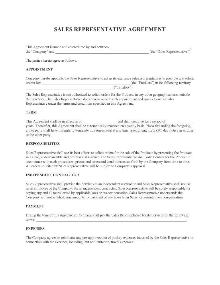 Sales Representative Agreement Form