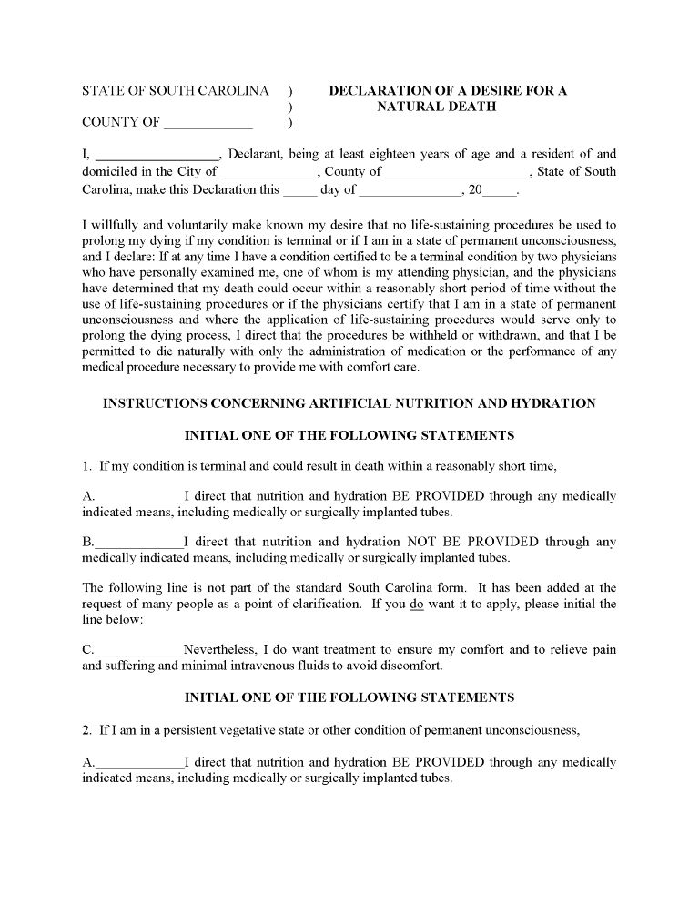 South Carolina Advance Directive For Health Care Form