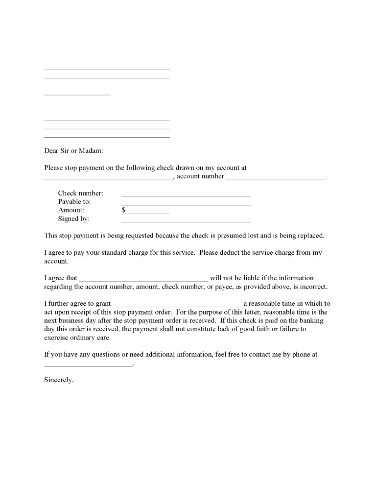 Stop Payment on Check Request
