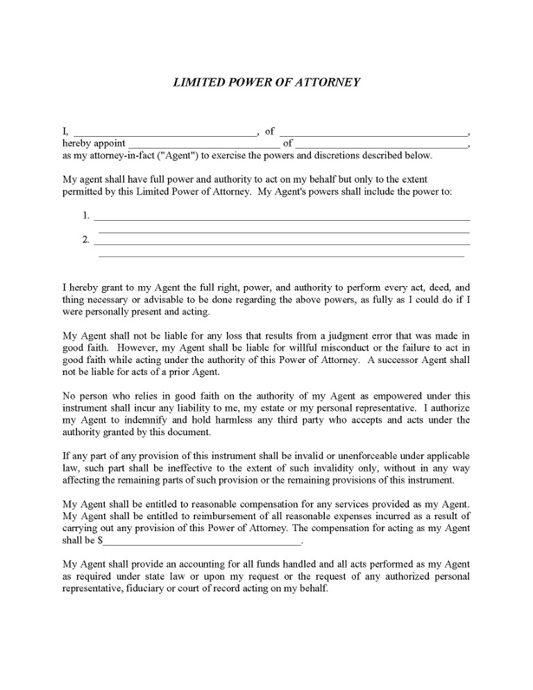 Temporary Power of Attorney Form