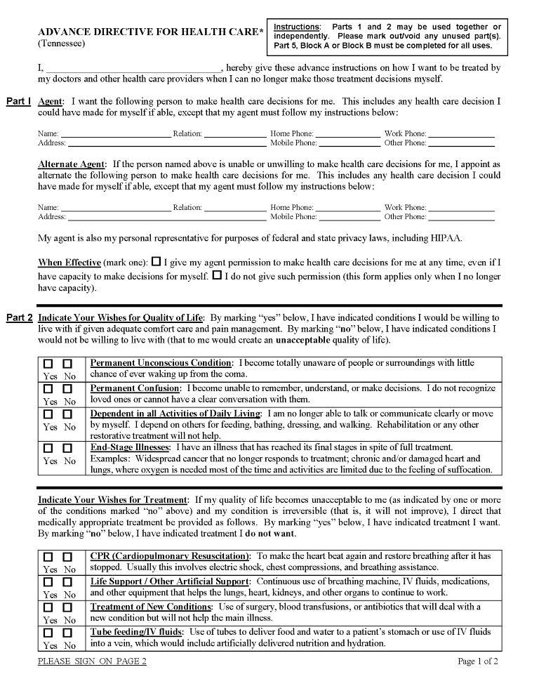 Tennessee Advance Directive For Health Care Form