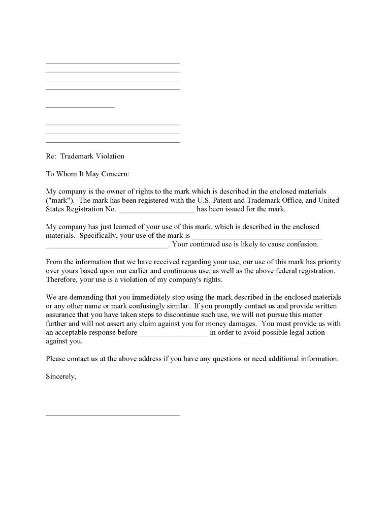 Trademark Violation Notice Form