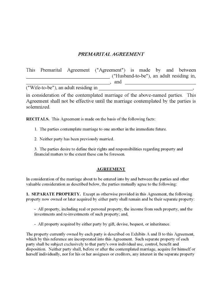Vermont Prenuptial Agreement Form