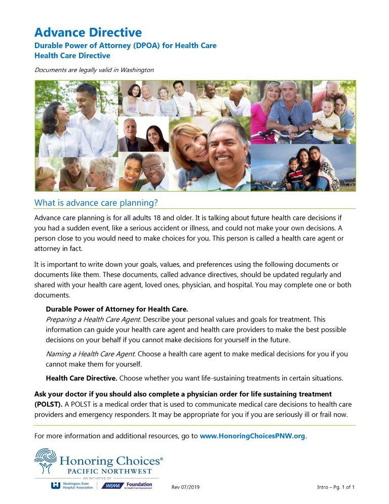 Washington Advance Directive For Health Care Form
