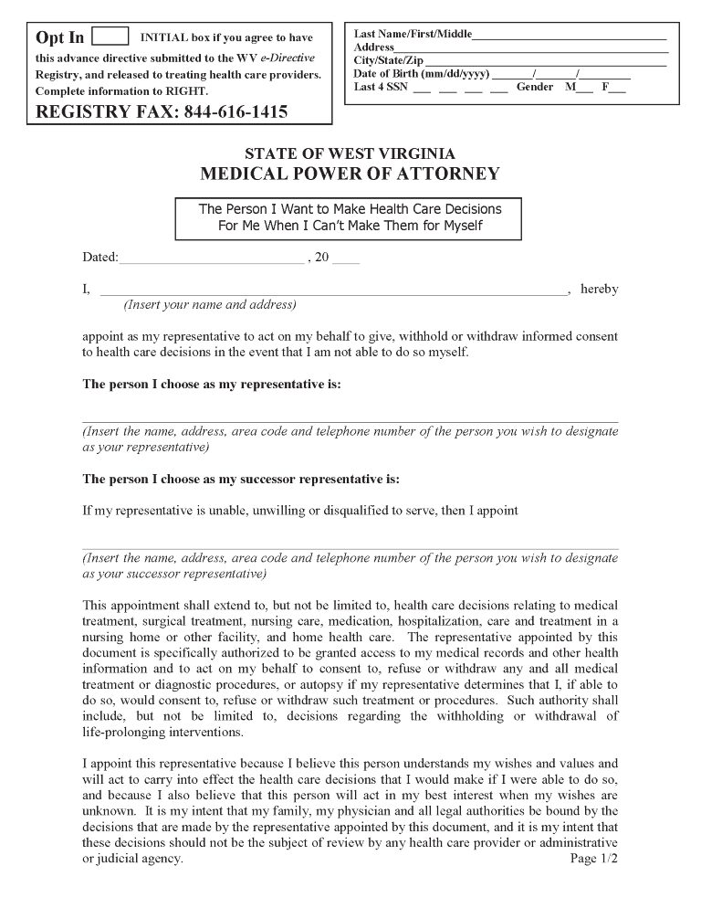 West Virginia Health Care Power of Attorney Form