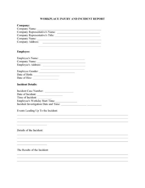 Work Injury Report Form PDF
