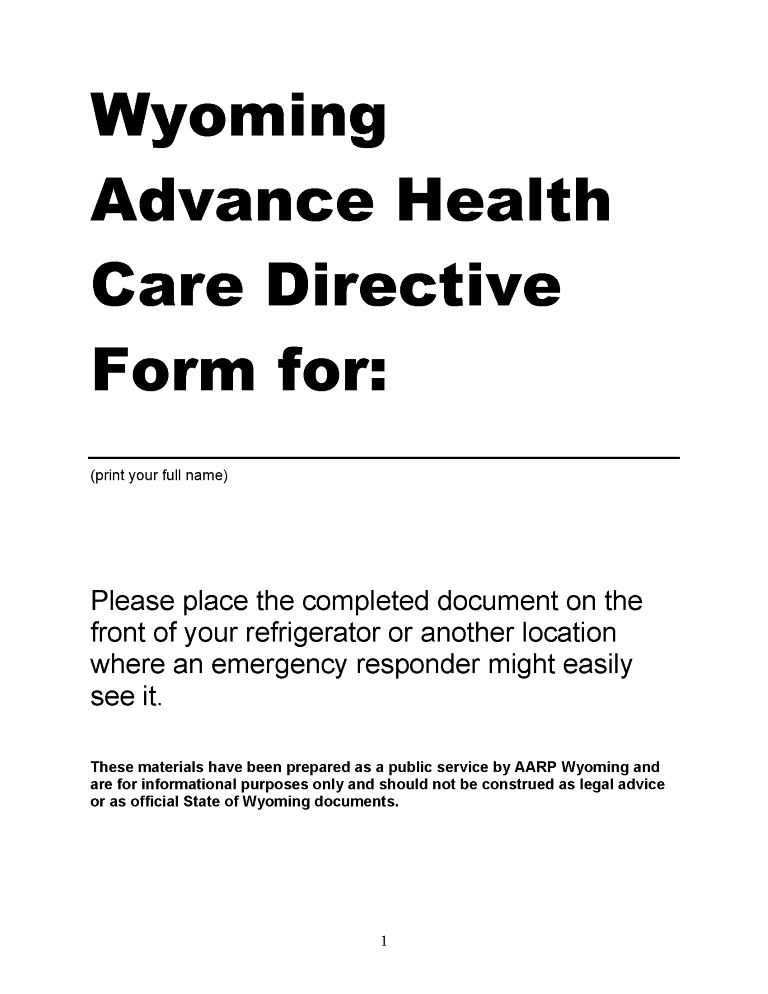 Wyoming Advance Directive For Health Care Form