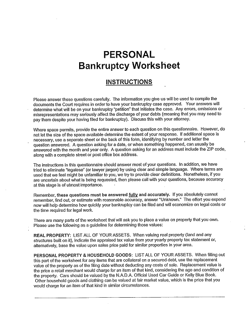 Bankruptcy Estimate Form